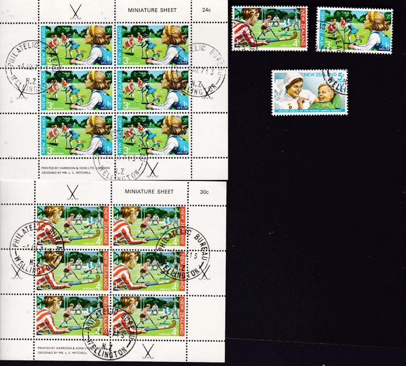 New Zealand the 1971 Health mini sheet pair & set CTO
