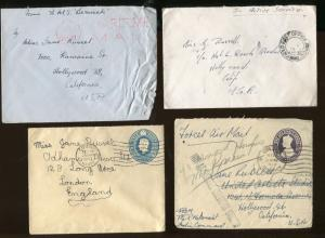 8 Covers From 1947 Addressed To Famous Actress MISS JANE RUSSELL -  S8701