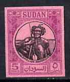 Sudan 1951-61 Shilluk Warrior 5m imperf proof on pink ung...