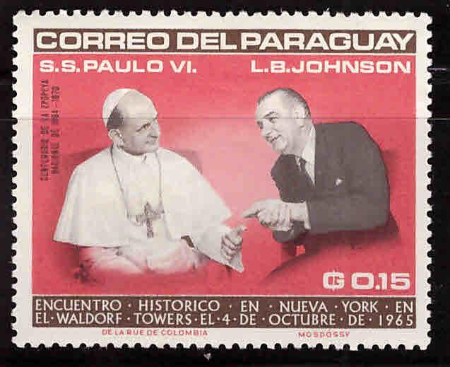 Paraguay Scott 904  MNH** Pope with President Johnson stamp