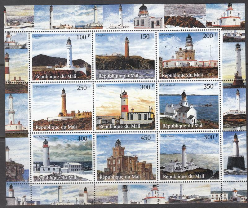 Mali, Sc # UNK (9), MNH, 1998, Lighthouses