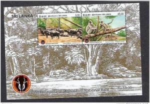 Sri Lanka Monkey Langur Water Buffalo Mammal Wildlife Fauna M/s MNH # 7701