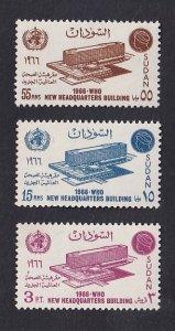 Sudan  #191-193   MNH  1966  WHO  headquarters