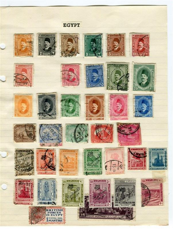 EGYPT;  1920s-40s early definitive issues good used lot on page