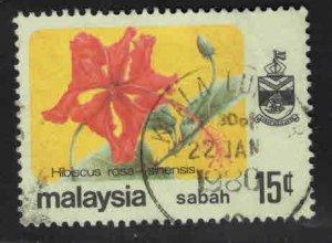 Malaysa Sabah  Scott 36 Used Flower stamp