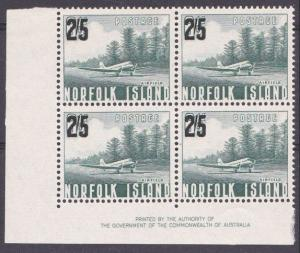NORFOLK IS 1960 2/5 overprint imprint block of 4 MNH........................4391