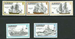 ALDERNEY SGA42/6 1990 ROYAL NAVY SHIPS MNH