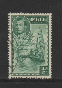 FIJI #117  1938 1/2p    KING GEORGE VI &  OUTRIGGER CANOE  F-VF  USED