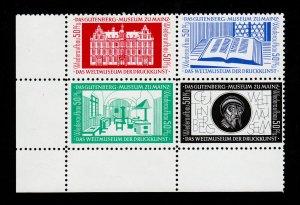 GERMANY GUTENBERG MUSEUMS WIEDERAUFBAU (50PF) BLOCK OF 4 (WITH CARD) MNH-OG