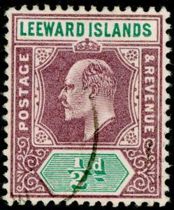 LEEWARD ISLANDS SG29, ½d dull purple & green, FINE USED. WMK MULT CA
