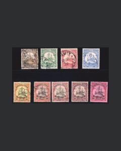 VINTAGE:MARSHALL ISL- GERMAN 1901 USED LH,LHR  SCOTT # 13-21 $124  LOT 1901X464