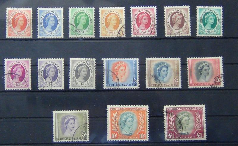 Rhodesia & Nyasaland 1954-56 set complete to £1 FU SG1-15
