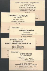 JC Morgenthau Stamp Auction Adverts on 1c Jefferson Cards...
