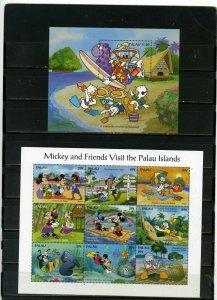 PALAU 1994 WALT DISNEY VISIT PALAU SHEET OF 9 STAMPS & S/S MNH