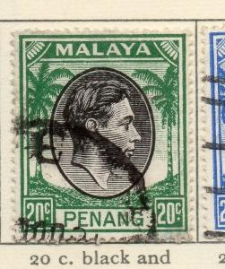 Malaya Penang 1949-52 Early Issue Fine Used 20c. 029255