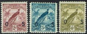 NEW GUINEA 1931 DATED BIRD OS 2D 3D AND 4D