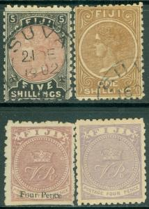 FIJI : 1876-99. Stanley Gibbons #42, 56 Mint OGH. #66, 69 Used. Catalog £166.00.