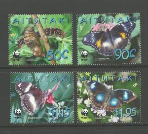 World Wildlife Fund-Butterflies-Aitutaki#539-542  MNH