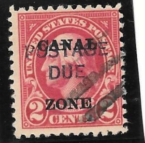 Canal Zone Scott #J16 Used 2c Postage Due w/ 2 O/Ps 2016 CV $7.00