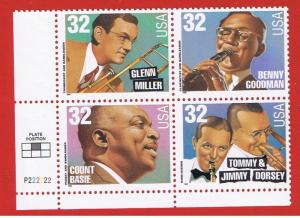 #3096-3099 MNH OG plate  block of 4 Big Band Leaders  Free S/H