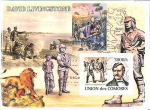 A0351 - COMORES Comoros - IMPERF 2008 stamp SHEET: Hunting Explorers LIVINGSTONE