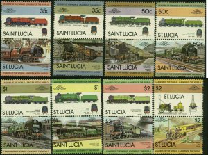 St. Lucia Scott #617 - #624 Pairs Complete Set of 8 Mint Never Hinged
