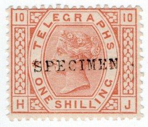 (I.B) QV Telegraphs : 1/- Brown-Orange (plate 10) specimen