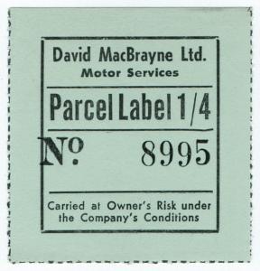 (I.B) Cinderella Collection : David MacBrayne Motor Services - Parcel 1/4d
