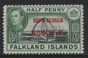 Falkland Is Dep- Scott 3L1- Overprint Definitive-1944- MVLH - Single 1/2d Stamp1