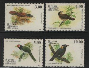SRI LANKA 1079-1082 (4) Set, Hinged, 1993 Birds