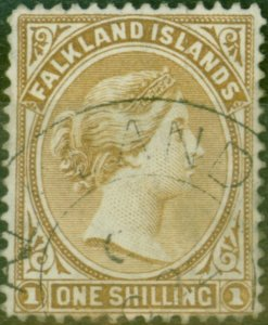 Falkland Islands 1896 1s Yellow-Brown SG38 Fine Used
