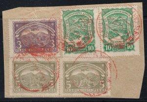 Colombia SCADTA 1923-28 3p & 5p High Values on Piece Used. Scott C39, C49, C50