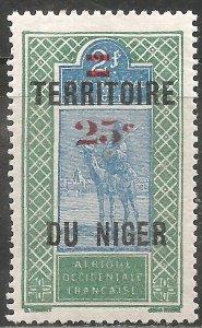 Niger Stamp - Scott #23/A1 Surcharged 25c on 2fr Green & Blue OG Mint/LH 1924