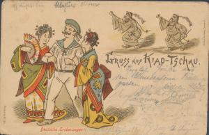 1898 Prague Austria Postcard Cover German Sailor in China with Women