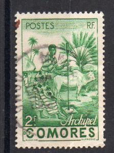 COMOROS - FRENCH COLONY - WOMAN WORKING - 2f GREEN - 1950 - Used -