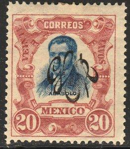 MEXICO 491, 20¢ CARRANZA MONOGRAM REVOLUT OVPERPRINT UNUSED, H OG. VF.