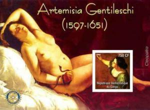Artemisia Gentileschi Nude Painting -  Stamp Souvenir Sheet 9817