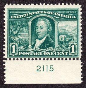 US 323 1c Louisiana Purchase Mint Bottom Plate #2115 Single F-VF OG NH SCV $65