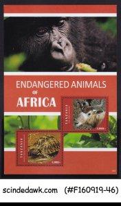 TANZANIA - 2016 ENDANGERED ANIMALS OF ARFICA - MIN/SHT MNH