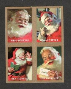 5332-35 Sparkling Holidays Santa Block No Outside Perforations Mint/nh