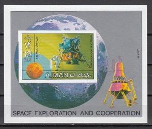 Ajman, Mi cat. 1222, BL328 B. Space Research s/sheet. ^
