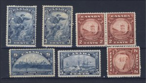 7x Canada stamps ##208x2 MNH MH #210x3 MNH #202 MH #204 MNG Guide Value = $74.00