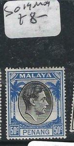 MALAYA PENANG   (P2206B)   KGVI  50C  SG  19   MOG