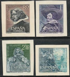 SPAIN 983-986, VELAZQUEZ, CLIPPED FROM SOUV. SHEETS. MINT, NH. F-VF. (323)