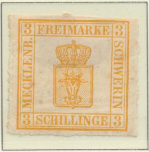 Mecklenburg-Schwerin Stamp Scott #7, Mint Hinged, Original Gum, Hinge Remnant...