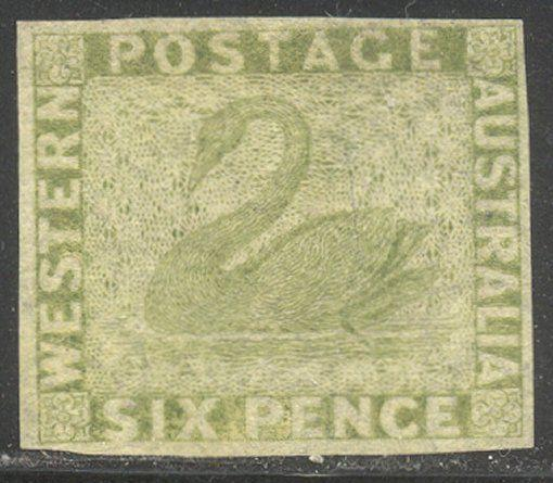 WESTERN AUSTRALIA #16 SCARCE Unused - 1860 6p Dull Green