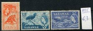 265381 SARAWAK 1955 stamps Orang-Utan Hornbill turtle