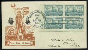 UNITED STATES 1937, SCOTT#793 PLATE BLOCK ON CACHET FIRST DAY COVER ,(RN)