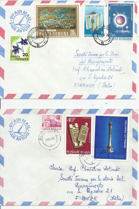 ROMANIA 1978 - 2 COVERS TO ITALY - POSTALLY USED