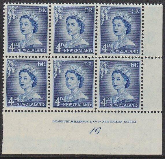 NEW ZEALAND 1955 4d Large Figures plate block # 16 mint.....................1603